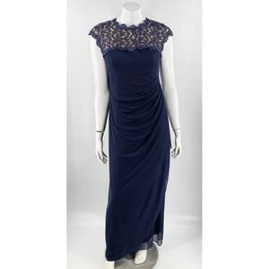 Alex Evenings Formal Dress Size 10 Navy Blue Lace